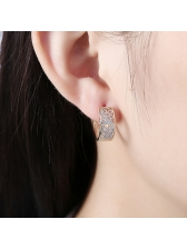 Fashionable Hollow Out Platinum Woman Earrings