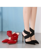 Street Pointed Pointed Bandage Thin Heel Pumps