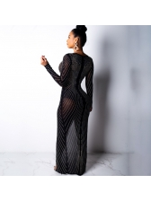 Sexy Perspective Hot Drilling Dress With Slit
