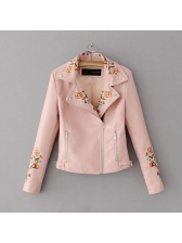 Spring Embroidery Zipper Fitted Pu Jackets