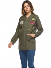 Chic Badge Stand Neck Zipper Jackets