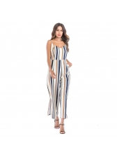 Euro Striped Spaghetti Straps Loose Jumpsuits