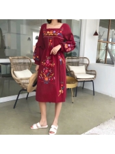 Vintage Style Embroidery Long Sleeve Dress