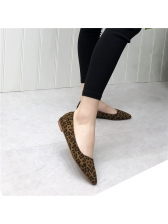 Euro Leopard Printed Suede Pointed Flats