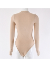 Single-Breasted Crew Neck Solid Bodysuit