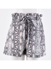 Sexy Snake Printed Tie-Wrap High Waist Shorts