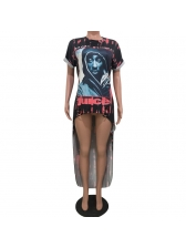 Crew Neck Printed Front Short Back Long T-Shirt