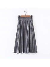 Winter Pleated Solid Elastic Maxi Skirt