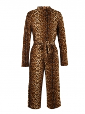Euro Leopard Print Binding Bow Loose Jumpsuits