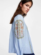 Spring Embroidery Loose Blue Blouse