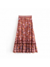 Ethnic Printed Ruched Elastic Maxi Skirt
