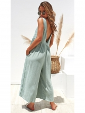 Wide Leg Sleeveless Pure Color Fashionable Jumpsuits