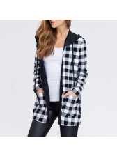 Hooded Collar Plaid Long Coat For Women