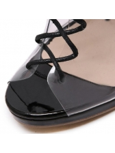 Euro Lace Up Peep-Toe Clear Pumps