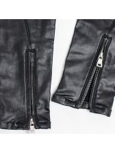 Cotton Lining Zip Pu Black Pencil Pants