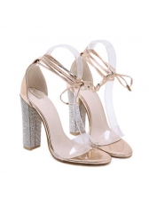 Fashionable Diamond Chunky Strappy Clear Sandals
