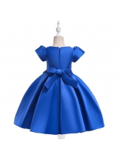 Euro Beaded Bow Satin Girls Flower Dresses