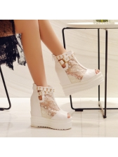 Peep-Toe Sequined Gauze Platform Wedges Boots