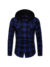 Plaid Hooded Single-breasted Men Shirts