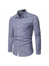 Casual Turndown Neck Striped Fitted Shirt