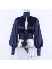 Vintage Style Backless Binding High Neck Blouse