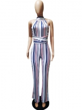 Striped Binding Contrasting Colors Loose Jumpsuits