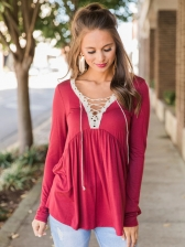 Hot Sale Lace Up Ruched Loose T-Shirt