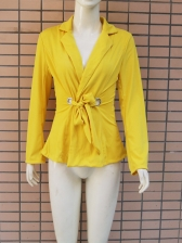 Sexy Lapel Tie-Wrap Fitted Yellow Womens Blazer