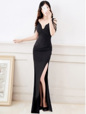 Backless Boutique Low-cut Dress With Slit