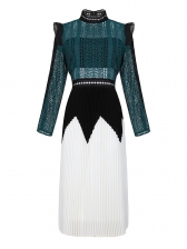 Boutique Stand Neck Lace Patchwork Pleated Dress