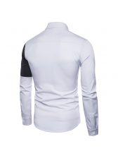 Single-Breasted Contrast Color Fitted Shirt