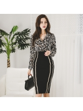 Leopard Printed Patchwork Fitted Woman Outfits