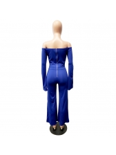 Sexy Boat Neck Hollow Out Flare Sleeve Jumpsuit