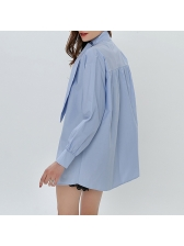 Chic Leaf Shape Decor Solid Loose Womens Blouse