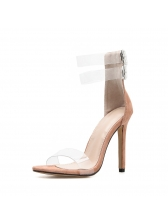 Sexy Buckle Belt Clear Thin Heel Sandals