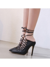 Pointed Cross Belt Lace Up Black Stiletto