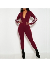 Turndown Neck Striped Side Sporty Jumpsuit