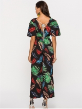 V Neck Backless Leaves Printed Palazzo Jumpsuit