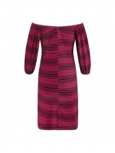Striped Boat Neck Half Sleeve Dresses