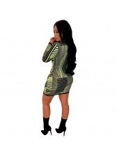 Sexy Printing V Neck Green Long Sleeve Striped Dress