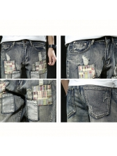 Causal Patch Pockets Half Ripped Jeans