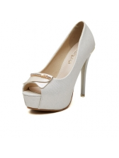 Classic Peep-Toe Stiletto Heel Platform Pumps