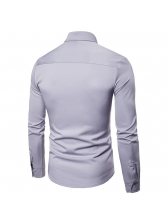 Single-Breasted Hollow Out Fitted Long Sleeve Shirt