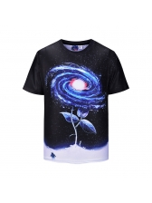 Starry Sky Printing Crew Neck T Shirts