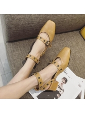 Vintage Style Square Toe A-Buckle Belt Flats