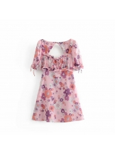 Flower Print Open Back Blush Short Sleeve