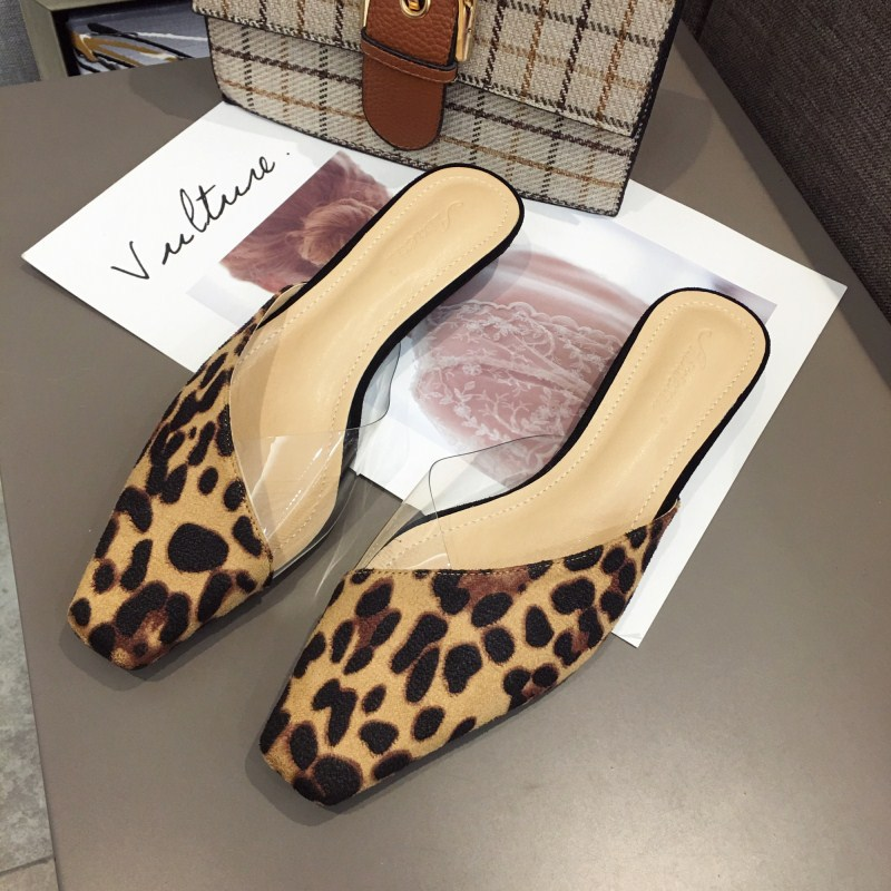 Stylish Suede Square Toe Mules Slippers