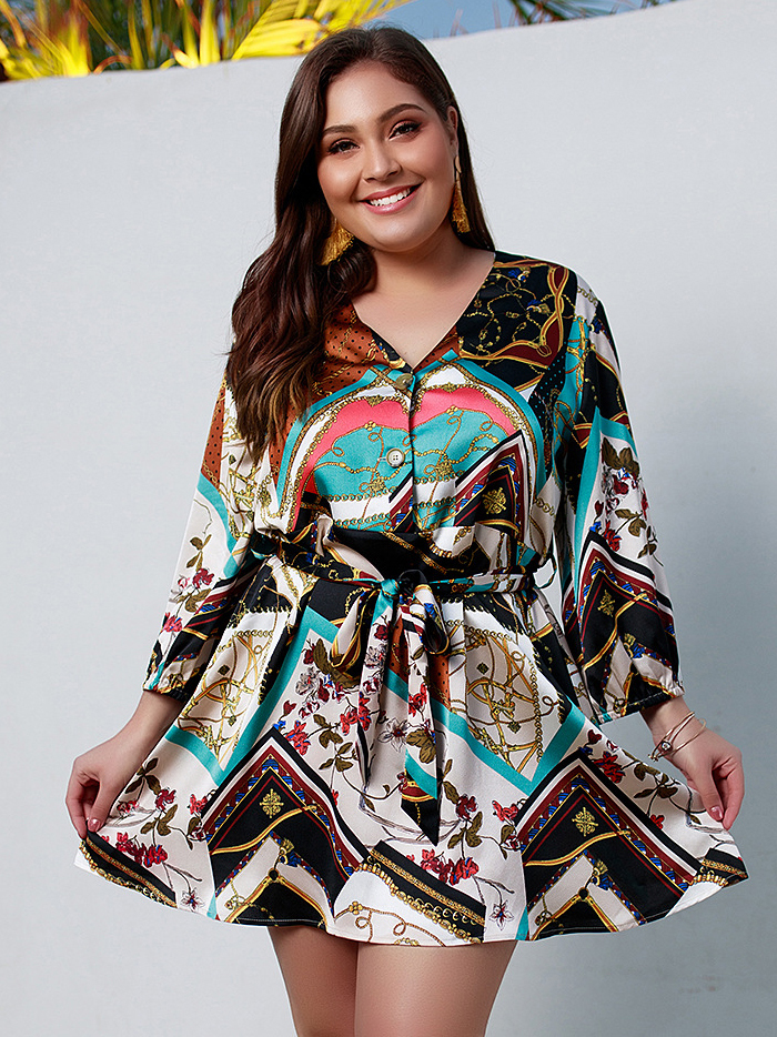 Printed Binding Bow Plus Size Dresses
