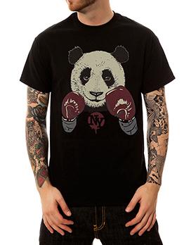 Summer Panda Printed Black Men T-Shirt