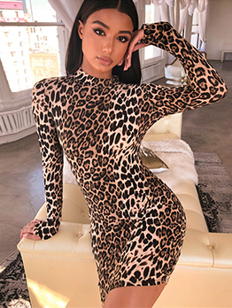 Leopard Mock Neck Long Sleeve Dress